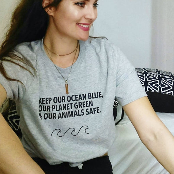 Keep Our Ocean Blue Our Planet Green & Our Animals Safe Printed T-Shirt, T- Shirt - Yemaya Luna