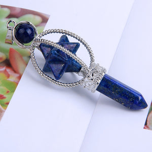 Lapis Lazuli Stone Carved Merkaba Star Hexagon Column Scepter Pendant, chains - Yemaya Luna