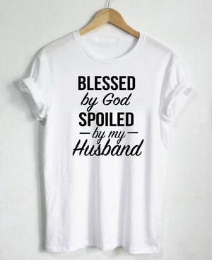 Blessed by God Spoiled by my Husband Tshirts, shirt - Yemaya Luna
