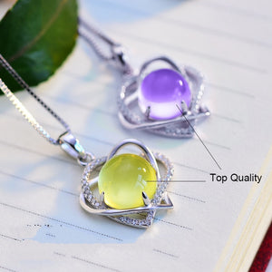 Choker Necklaces 925 Silver Cubic Zirconia Heart Pendants, chain - Yemaya Luna