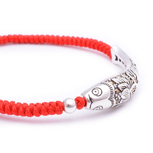 925 Sterling Silver Fish Lucky Red Rope Bracelet