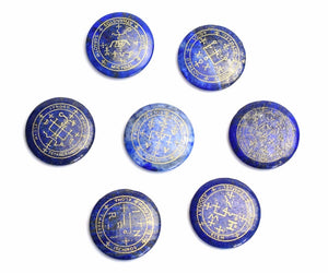 Seven Archangel Symbols Summoning Magic Circle Engraved Palm Stones, Metaphysical - Yemaya Luna