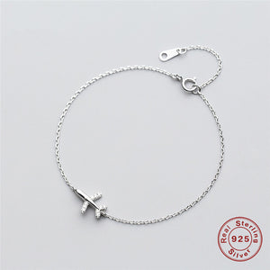 925 Sterling Silver Jewelry Aircraft airplane Plane chain bracelet