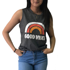 Only Good Vibe allowed Rainbow Stripe LTank Tops, shirt - Yemaya Luna