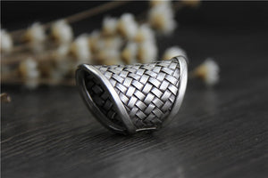 22mm Width Silver Ring Women Solid 925 Sterling Silver Ring Braided, Rings - Yemaya Luna