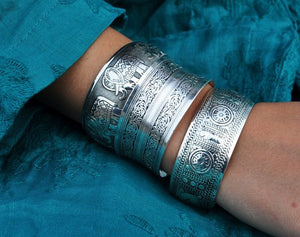 Statement Boho Antique silver plated cuff, Bracelet - Yemaya Luna