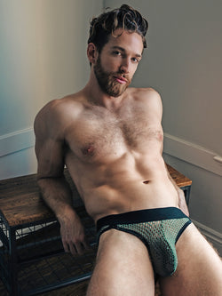 men's green mesh briefs