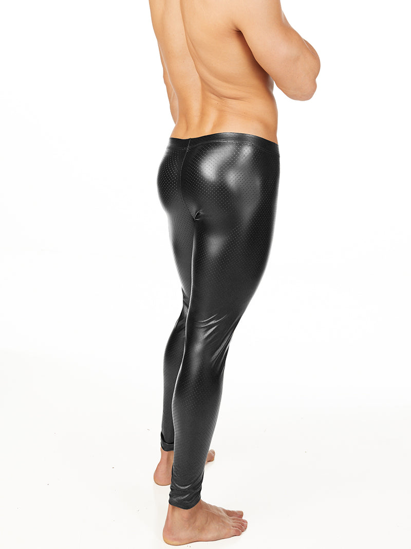 men's black pleather leggings