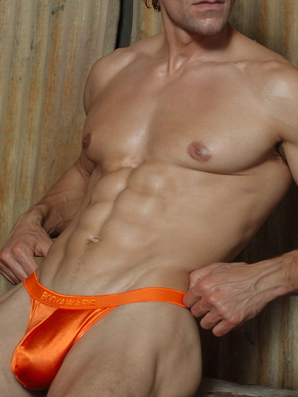 men's orange satin tanga