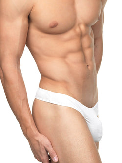 Men's white soft ribbed thong