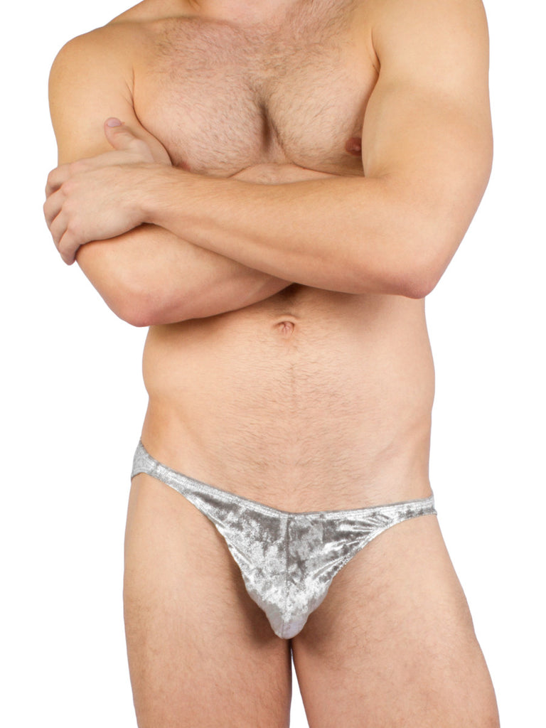 Metallic Velvet Brief Silver