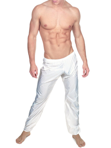 Men's white nylon sports jogging pants