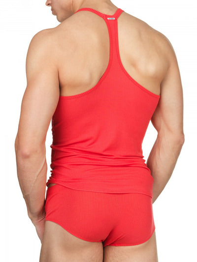 Men's red rayon ribbed sports tank top