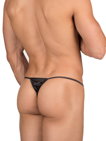 Men's neon black Silk Satin Thong