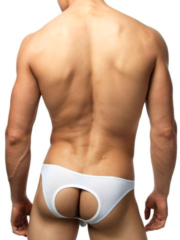 Men's white see through bikini cut jock brief