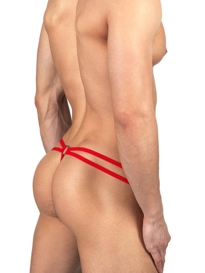 Men's red fishnet met see through strappy thong