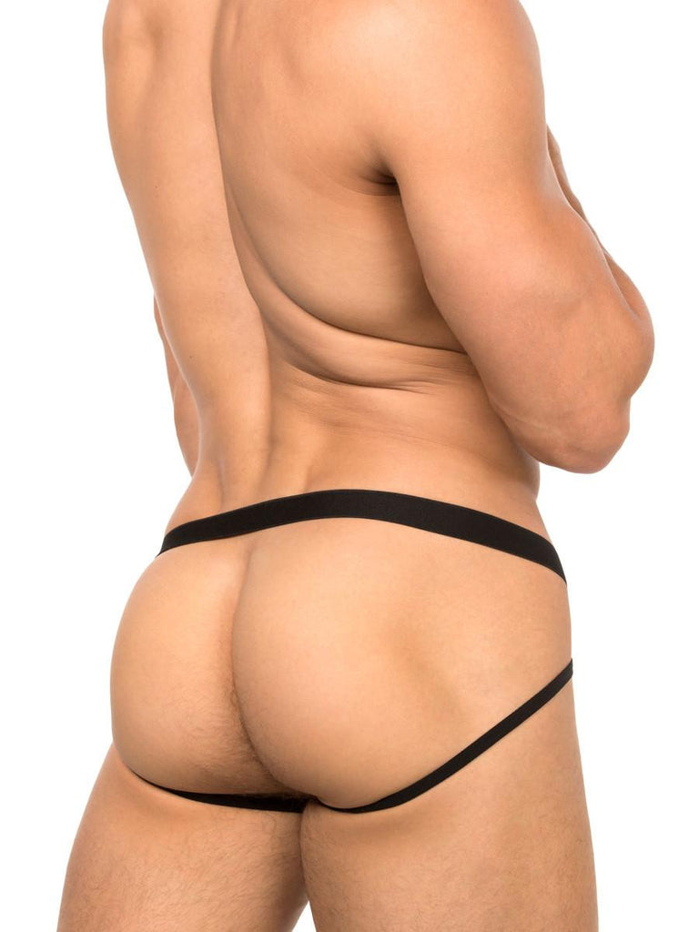 Men's black fishnet and ring strappy jock underwear
