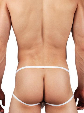 Men's white mesh see through jock pouch underwear