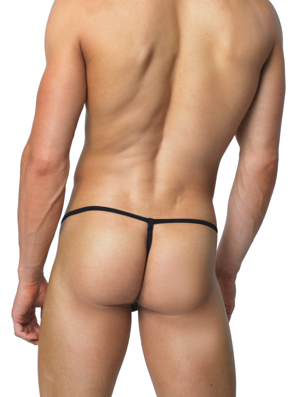 Men's black fishnet erotic thong