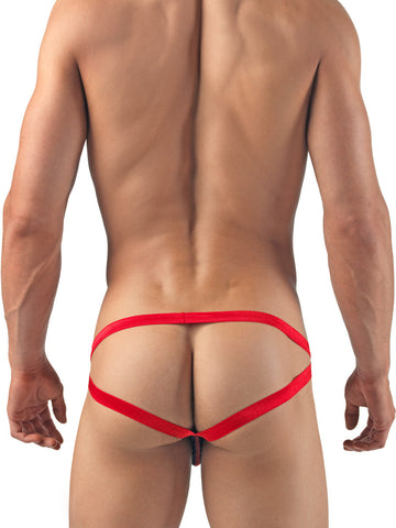 Men's black see through strappy jock pouch brief