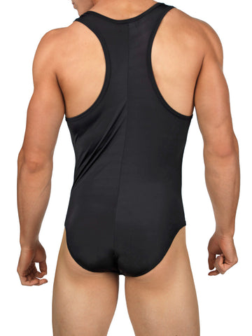 Men's black soft and stretchy rayon bodysuit leotard with cock sheath