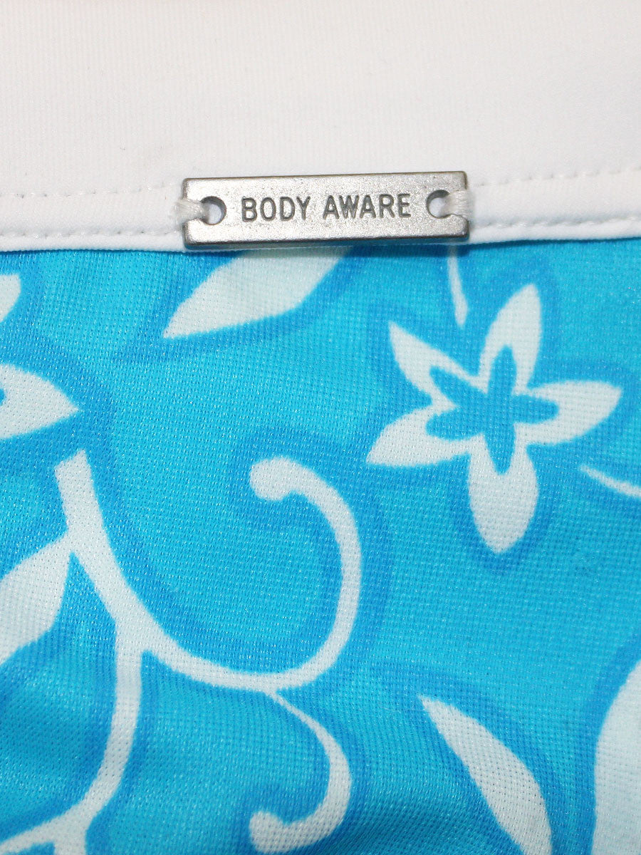 Men's blue and white floral hawaiian style drawstring swim brief