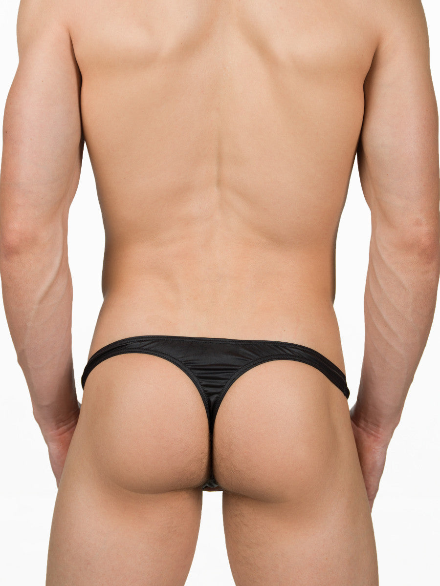 Men's Black Thong Underwear With Cock Hole