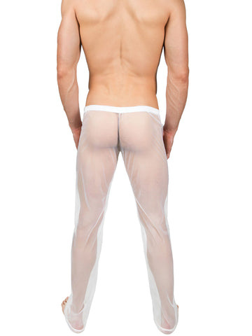 Men's mesh see through and erotic white lounge pants