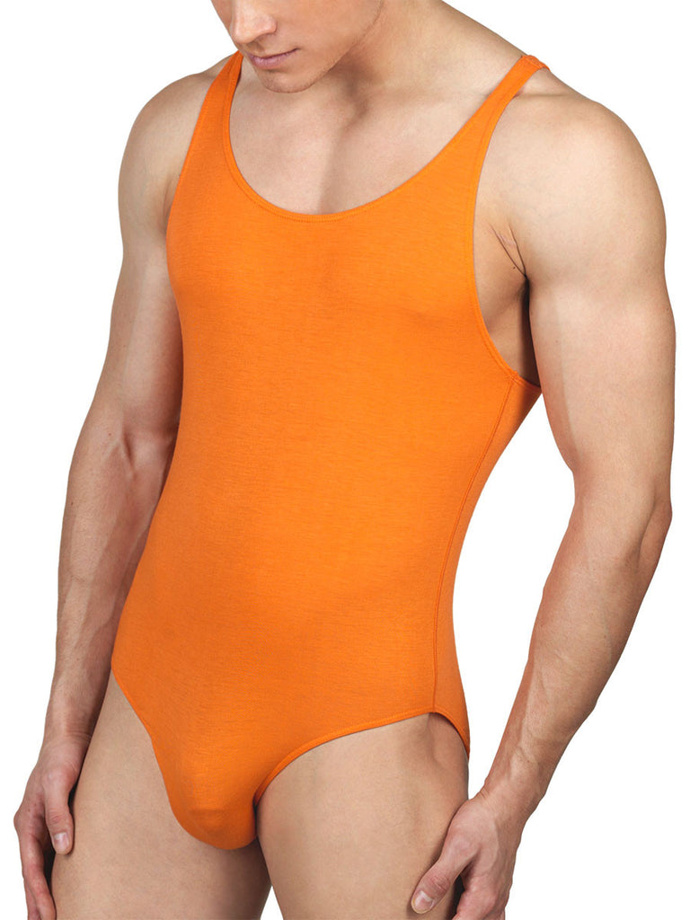 Men's orange soft and stretchy rayon bodysuit leotard
