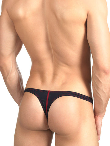 Men's black bodycon thong
