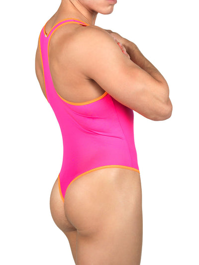 Men's neon pink stretchy leotard bodysuit