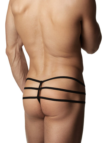 Men's black lace strappy thong