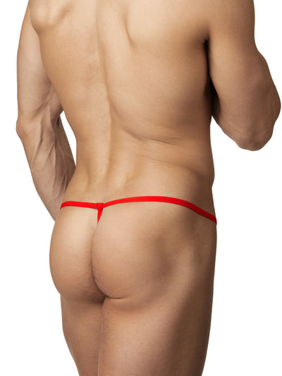 Men's red strappy lace g string thong