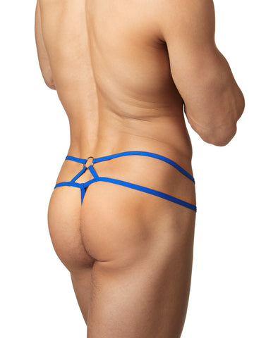 Men's blue strappy mesh thong