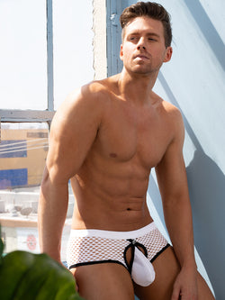 Men's white fishnet snap pouch brief