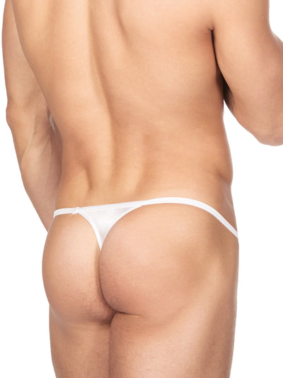 Men's White Satin String Thong Underwear