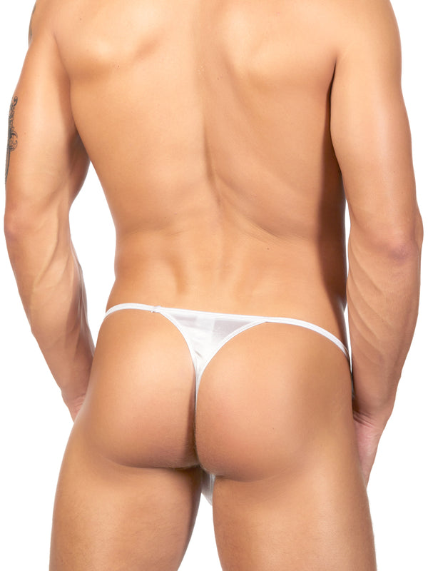 Men's white satin thong