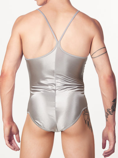 Men's satin silver bodysuit leotard