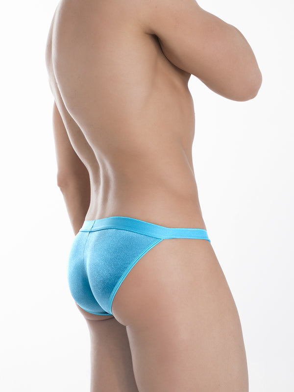 Men's Blue Satin Tanga Briefs
