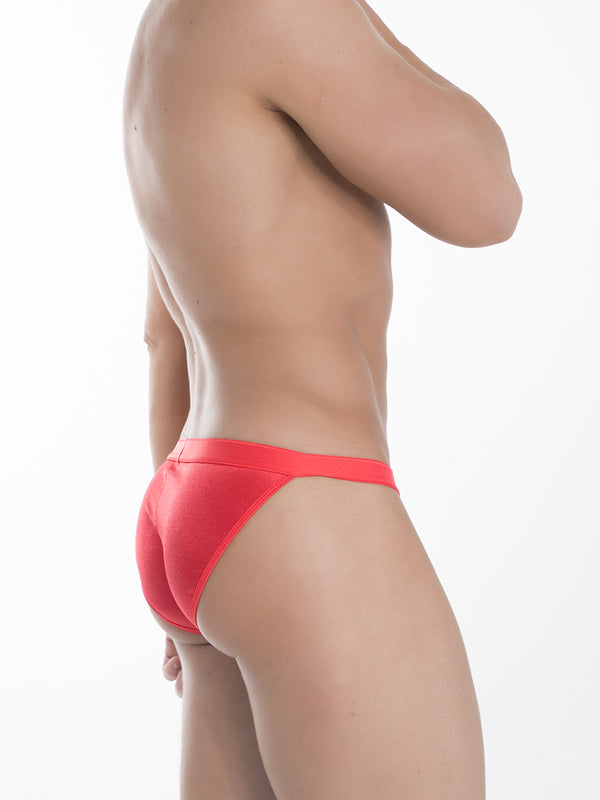 Men's Red Satin Tanga Briefs