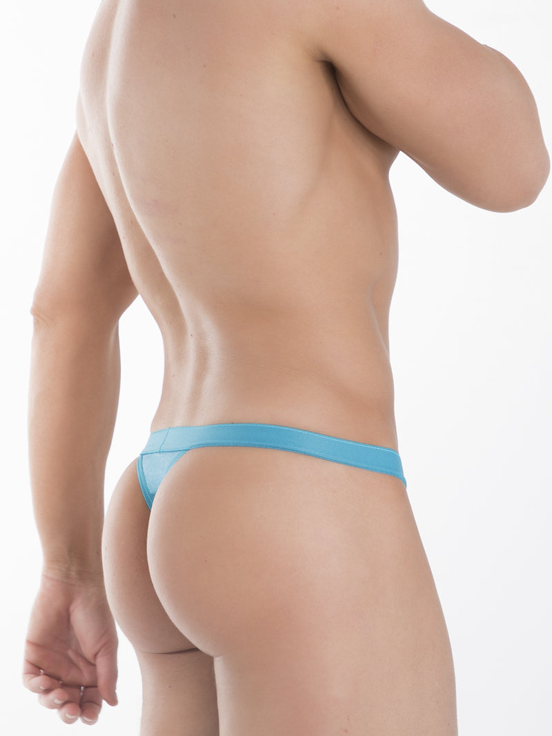 Men's Blue Satin Thong