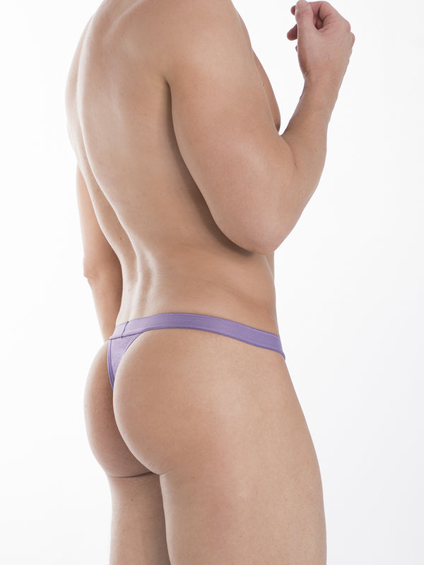 mens purple satin thong
