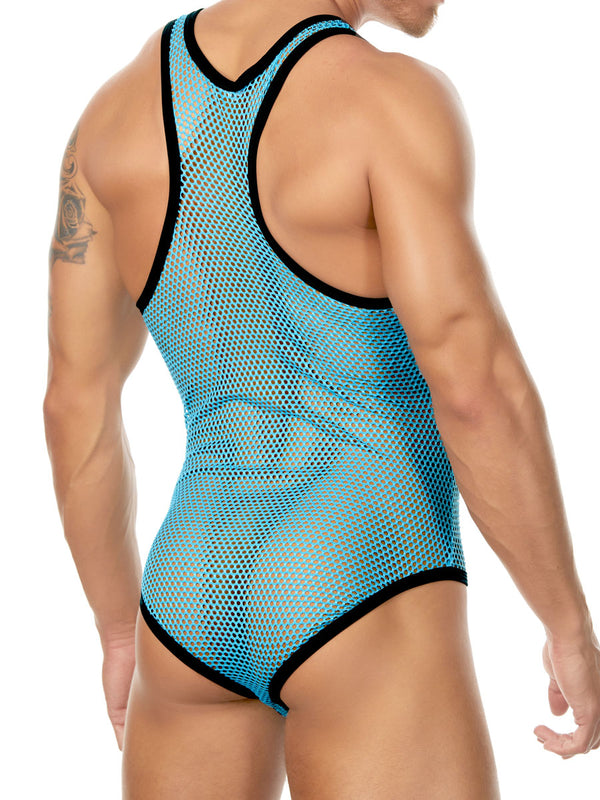 Men's blue fishnet bodysuit