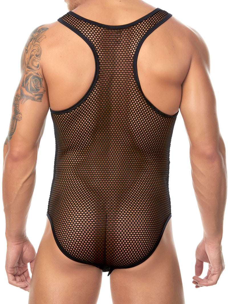 Men's black mesh bodysuit