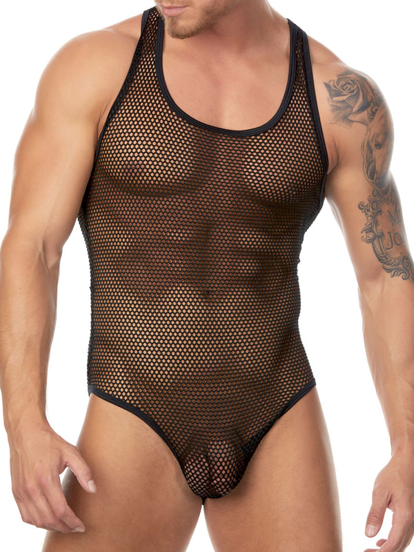 Men's black fishnet bodysuit