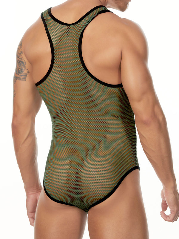 Men's green fishnet bodysuit