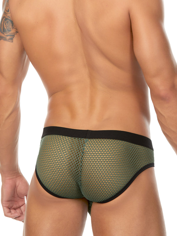 Men's green fishnet brief