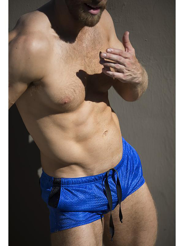 Men's blue jersey short shorts