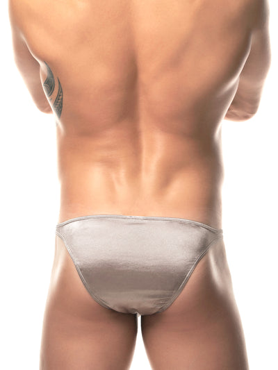 Men's silver satin bikini briefs