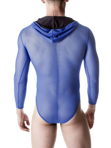 Men's blue hooded mesh see through bodysuit leotard